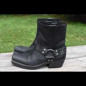 🌿Leather Motorcycle Harness Stacked Ankle Boots